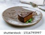 Sacher Chocolate Cake On Grey...