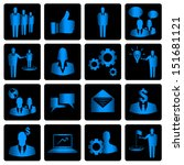 blue business vector icons on... | Shutterstock .eps vector #151681121