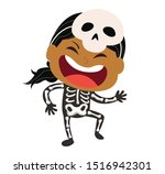 cute little skeleton kid vector ... | Shutterstock .eps vector #1516942301