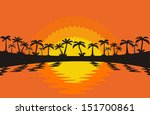 palm trees silhouette at  sunset | Shutterstock .eps vector #151700861