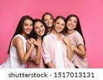 Happy Women On Pink Background. ...