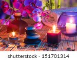 violet composition   candles ... | Shutterstock . vector #151701314