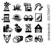vector black farm icon set on... | Shutterstock .eps vector #151703477