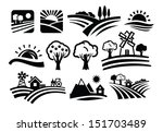 vector black nature icons set... | Shutterstock .eps vector #151703489