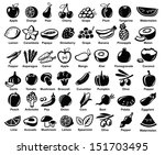 vector black fruits and... | Shutterstock .eps vector #151703495