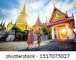 Asian Girl Walk In Wat Phra...