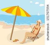 vector illustration girl with... | Shutterstock .eps vector #151707554