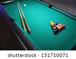 A Pool Table  Set Up For A Game ...