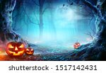 Small photo of Jack O' Lanterns In Spooky Forest At Moonlight - Halloween