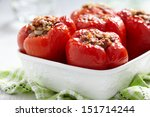 red peppers stuffed with meat... | Shutterstock . vector #151714244