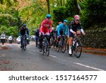 Small photo of Skipton, North Yorkshire / UK - September 29th 2019: The UCI Road World Championships men's elite race. The breakaway passes through Skipton with a lead of 1'05.