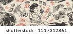 retro cinema noir film seamless ... | Shutterstock .eps vector #1517312861