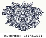 wolf head. tattoo and t shirt... | Shutterstock .eps vector #1517313191