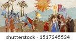 medieval scene. king and queen. ... | Shutterstock .eps vector #1517345534