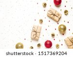 christmas composition. flat lay ... | Shutterstock . vector #1517369204