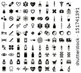 100 Medical Icons Set  Black...