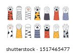 cat paws. doodle animal foot ... | Shutterstock .eps vector #1517465477