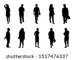 silhouette people walking set ... | Shutterstock .eps vector #1517476337
