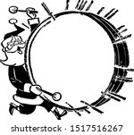 santa with bass drum   retro... | Shutterstock .eps vector #1517516267