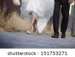 wedding  bride and groom walk... | Shutterstock . vector #151753271