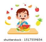 cute happy kid eat salad... | Shutterstock .eps vector #1517559854