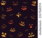 halloween seamless pattern with ... | Shutterstock .eps vector #1517569274