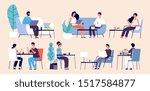 people eating. women men relax... | Shutterstock .eps vector #1517584877