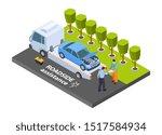 tow truck isometric. vector... | Shutterstock .eps vector #1517584934