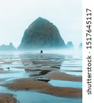 Small photo of Lonely person walking at the beach towards a giant rock at Cannon Beach in Orgeon in the US.