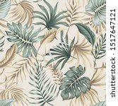 tropical floral foliage palm... | Shutterstock .eps vector #1517647121
