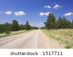 forest road and white cloud hidh above - stock photo