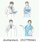 man and woman doctor characters.... | Shutterstock .eps vector #1517790461