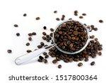 Roasted  Coffee Seeds In Metal...