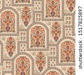 mughal flower motif bunch... | Shutterstock .eps vector #1517825897