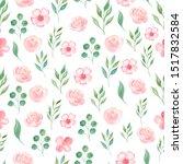 summer bloomy flowers and... | Shutterstock . vector #1517832584