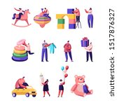 people with kids toys and stuff ... | Shutterstock .eps vector #1517876327