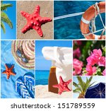 Collage of beautiful summer photos -  Summer vacation concept - stock photo