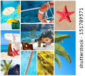 Collage of summer beach images - Holidays concept  - stock photo