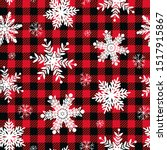 snowflakes on a buffalo plaid... | Shutterstock .eps vector #1517915867