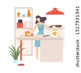 woman is cooking in a pan.... | Shutterstock .eps vector #1517931341