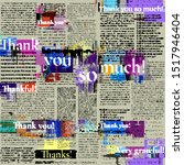 Seamless background pattern. Imitation of halftone newspaper with worlds Thank you, grateful, thankful. Vector image.