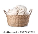 Basket With Laundry On White...