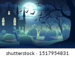 halloween background with scary ... | Shutterstock .eps vector #1517954831