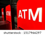 red illuminated signs for atm... | Shutterstock . vector #1517966297