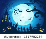halloween background with scary ... | Shutterstock .eps vector #1517982254