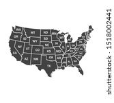 usa map with federal states on... | Shutterstock .eps vector #1518002441