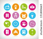 home design and furniture icons ... | Shutterstock .eps vector #151800665
