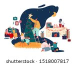 merry christmas season and... | Shutterstock .eps vector #1518007817