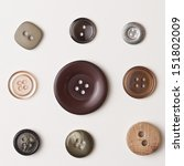 Vintage Brown Buttons On White...