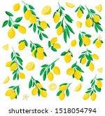 vector illustration of lemon.... | Shutterstock .eps vector #1518054794